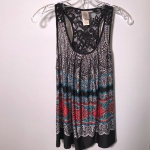 In Bloom by Jonquil tank top sheer lace back S